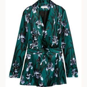 H&M satin green forest floral blazer
